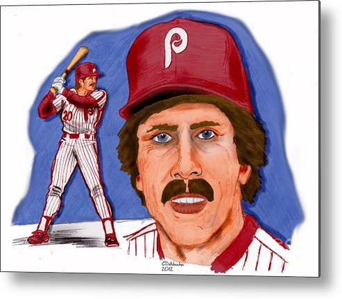 Phillies Metal Print featuring the drawing Mike Schmidt-color by Chris DelVecchio