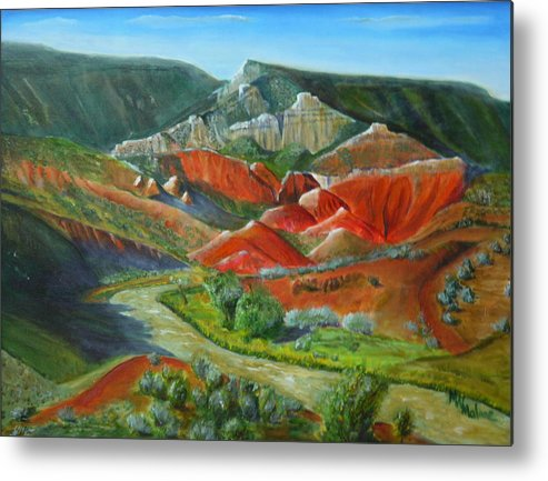 New Mexico Metal Print featuring the painting Overlook Near Ghost Ranch by Mark Malone