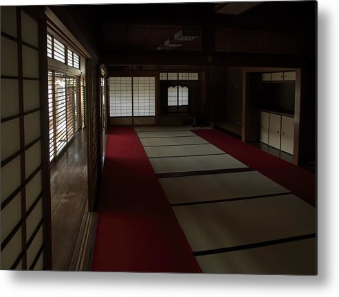 Zen Metal Print featuring the photograph Quietude Of Zen Meditation Room - Kyoto Japan by Daniel Hagerman