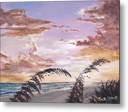 Sunset Metal Print featuring the painting Sanibel Island Sunset by Jack Skinner