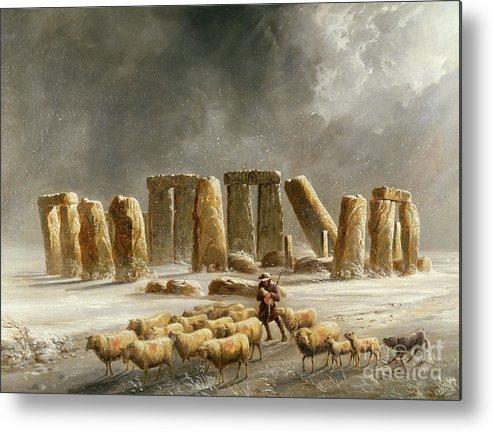 Stonehenge In Winter By Williams Metal Print featuring the painting Stonehenge In Winter by Walter Williams