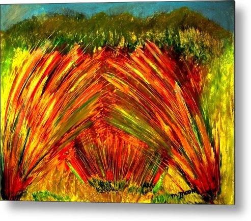 Fields Metal Print featuring the drawing Sweeping Fields by Melvin Moon