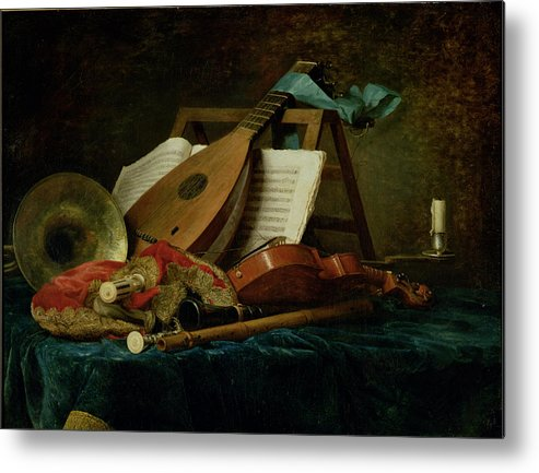 The Attributes Of Music Metal Print featuring the painting The Attributes Of Music by Anne Vallaer-Coster
