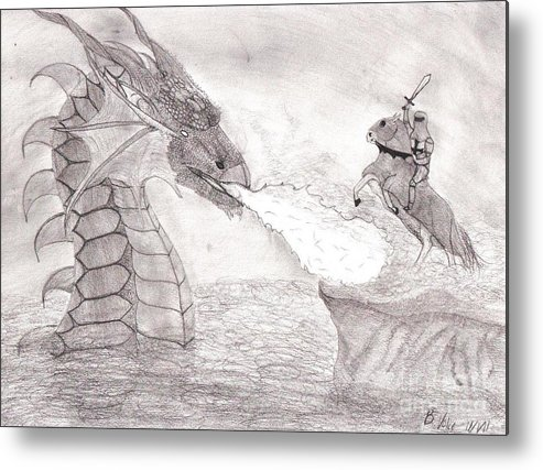 Valiant Metal Print featuring the drawing Valiant Warrior by Rebecca Volke