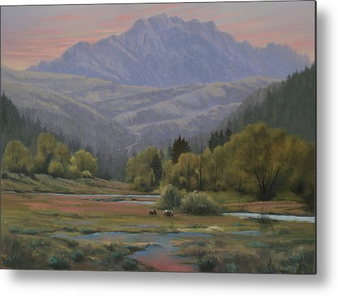 Landscape Metal Print featuring the painting 070815-1814  Evening Over Long Scraggy Mt. by Kenneth Shanika