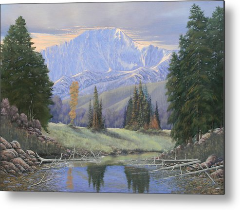 Landscape Metal Print featuring the painting 080324-4030 Breaking Through - Pikes Peak by Kenneth Shanika