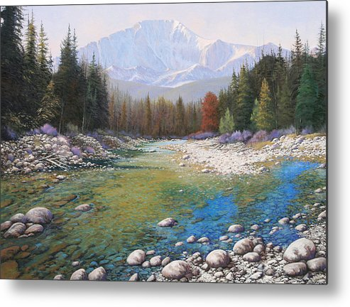Landscape Metal Print featuring the painting 080401-4030 Shallow Waters - Pikes Peak by Kenneth Shanika