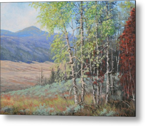 Landscape Metal Print featuring the painting 090925-68  The Peak Of Summer by Kenneth Shanika