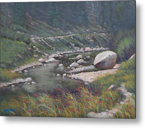 Landscape Metal Print featuring the painting 091001-912 Etched By Eons by Kenneth Shanika