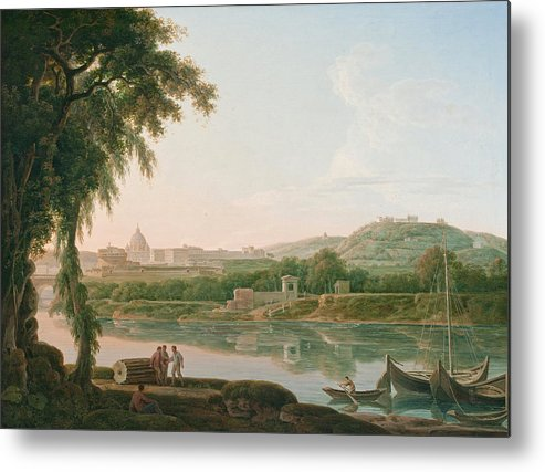 Jacob More Metal Print featuring the painting A Distant View Of Rome Across The Tiber by Jacob More