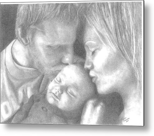 Graphite Metal Print featuring the drawing Cassiday Family 1 by Rhonda Rodericks