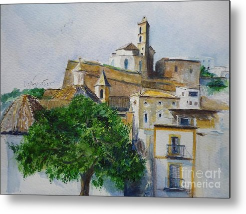 Buildings Metal Print featuring the painting D Alt Vila Ibiza Old Town by Lizzy Forrester