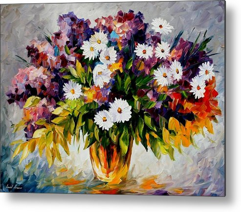 Afremov Metal Print featuring the painting Lilac And Camomiles by Leonid Afremov