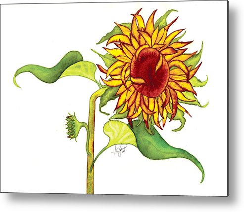 Floral Metal Print featuring the painting Mari's Sunflower by Stephanie Jolley