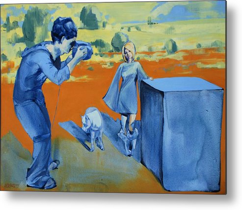 Landscape Female People Yellow Orange Camera Pony Box Blue Metal Print featuring the painting Paris And The Pony by Amy Bernays