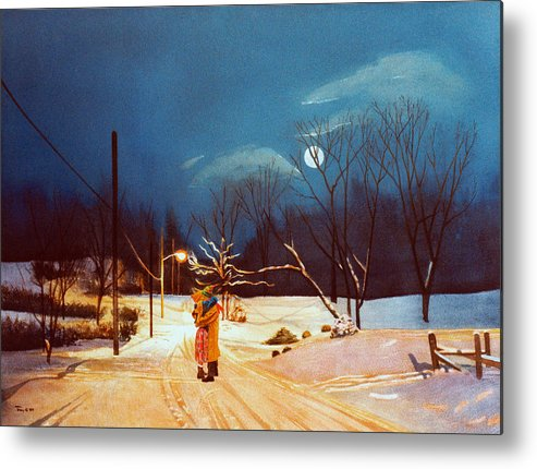 Winter Metal Print featuring the painting Private Road by Robert Tracy