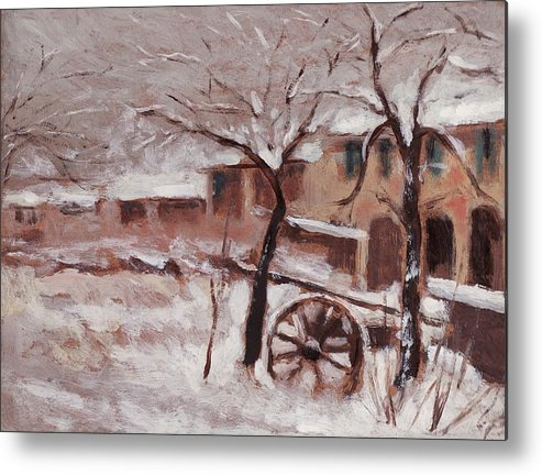 Snow Metal Print featuring the painting Snow On The Farmhouse by Mario Zampedroni