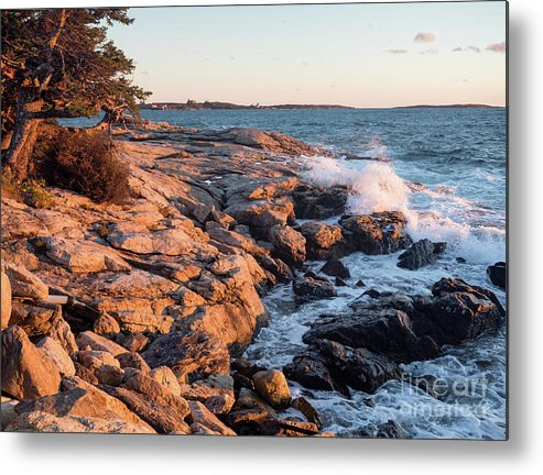East Boothbay Metal Print featuring the photograph Sunset At Ocean Point, East Boothbay, Maine -230204 by John Bald