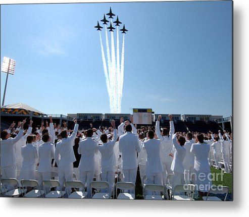 Academy Metal Print featuring the painting the Blue Angels US Navy by Celestial Images