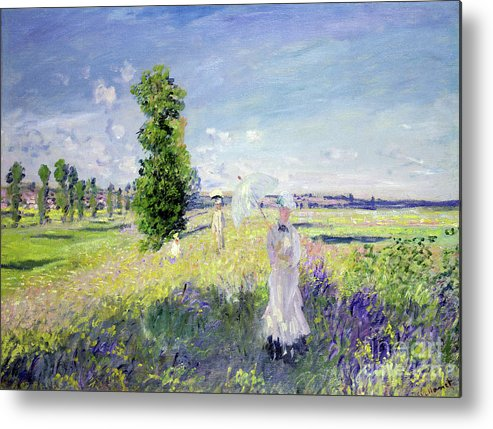 The Walk (argenteuil) Metal Print featuring the painting The Walk by Claude Monet