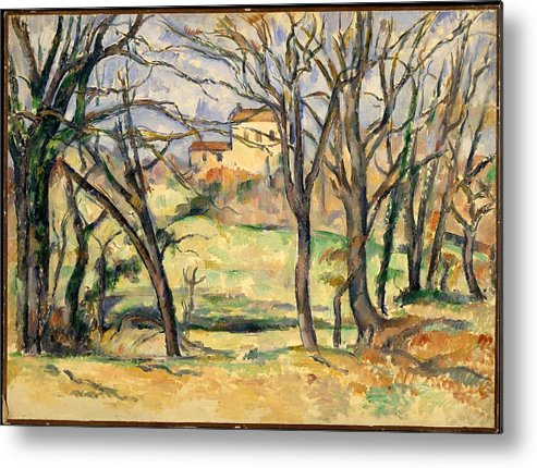 Paul Czanne Trees And Houses Near The Jas De Bouffan Metal Print featuring the painting Trees And Houses Near The Jas De Bouffan by Paul Czanne