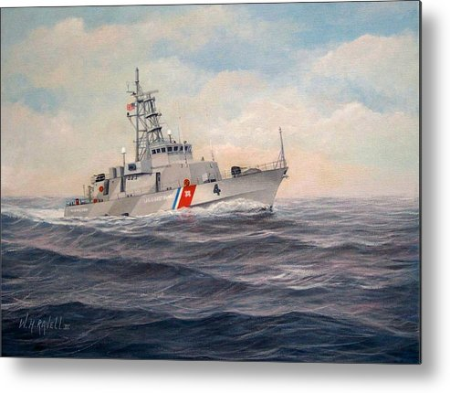 Coast Guard Metal Print featuring the painting U. S. Coast Guard Cutter Monsoon by William H RaVell III