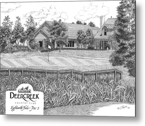 Golf Metal Print featuring the drawing 18th Hole - Deercreek Country Club by Lawrence Tripoli