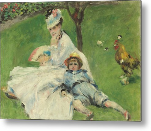 Auguste Renoir Metal Print featuring the painting Madame Monet And Her Son by Auguste Renoir