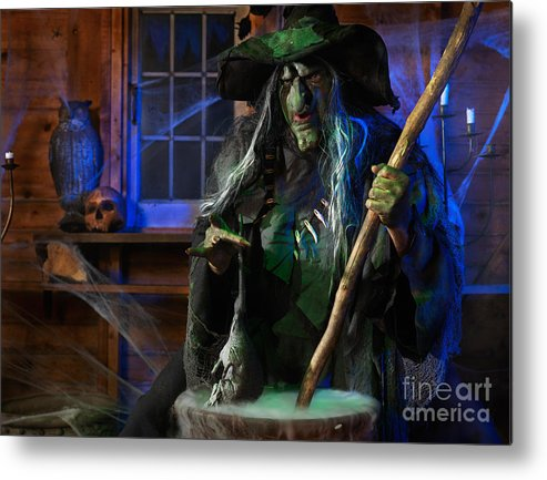 Witch Metal Print featuring the photograph Scary Old Witch With A Cauldron by Oleksiy Maksymenko