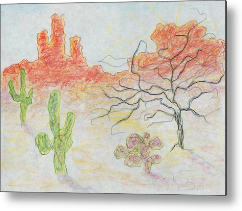 Desert Metal Print featuring the painting Untitled by Suzanne Marie Leclair