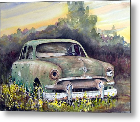 Car Metal Print featuring the painting 51 Ford by Sam Sidders