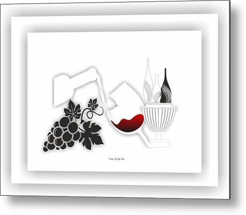 Metal Print featuring the digital art Abstract Monochrome by Ziya Tatar