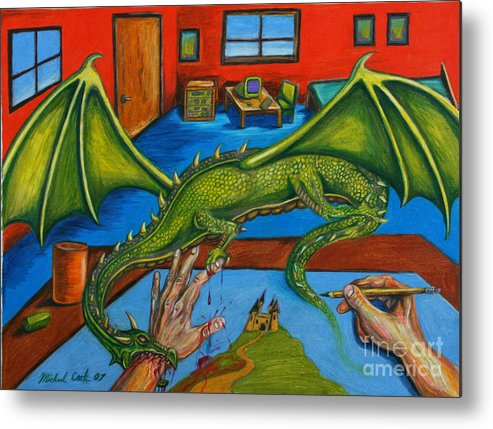 Dragon Fantasy Surreal Metal Print featuring the drawing A Drawing With Bite by Michael Cook