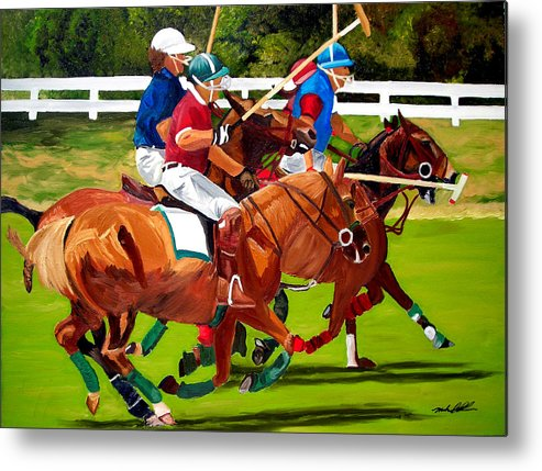 Polo Metal Print featuring the painting A Game Of Polo by Michael Lee