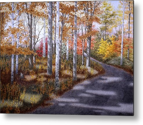 Country Road Metal Print featuring the painting A Sunny Autumn Day by Conrad Mieschke