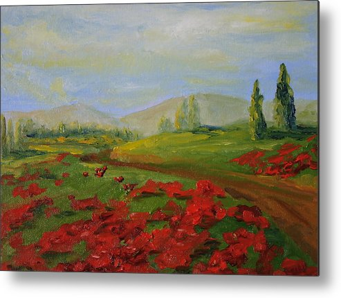 Tuscany Metal Print featuring the painting a walk in Tuscany by Martha Layton Smith