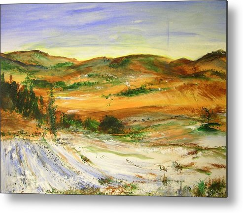 Landscape Metal Print featuring the painting Aberdeen Winter Landscape by Lizzy Forrester