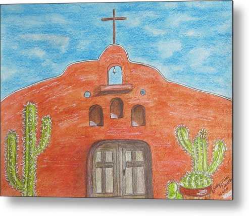 Adobe Metal Print featuring the painting Adobe Church And Cactus by Kathy Marrs Chandler