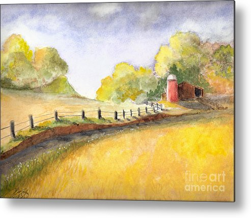 Landscape Metal Print featuring the painting After The Rain by Vivian Mosley