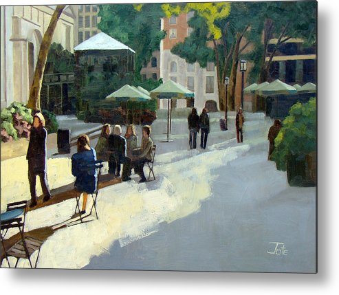 Cityscape Metal Print featuring the painting Afternoon In Bryant Park by Tate Hamilton