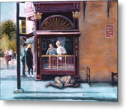 Ithaca Commons Metal Print featuring the painting Afternoon On Ithaca Commons by John Clum