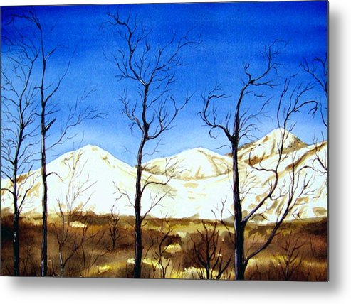 Landscape Metal Print featuring the painting Alaska Blue Sky Day by Brenda Owen