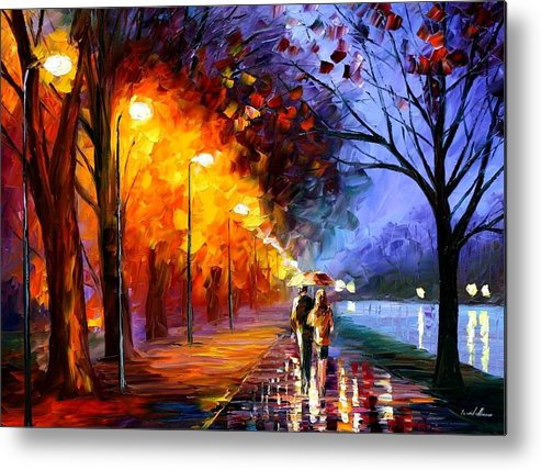 Afremov Metal Print featuring the painting Alley By The Lake by Leonid Afremov