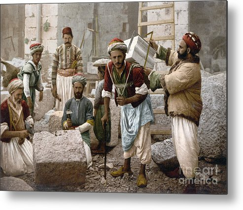 1900 Metal Print featuring the photograph Arab Stonemasons, C1900 - To License For Professional Use Visit Granger.com by Granger