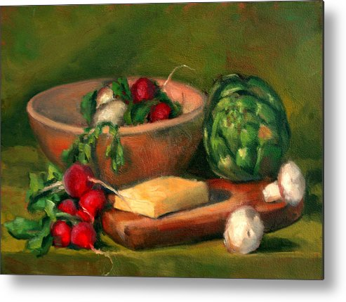 Still Life Metal Print featuring the painting Artichoke And Radishes by Athena Mantle
