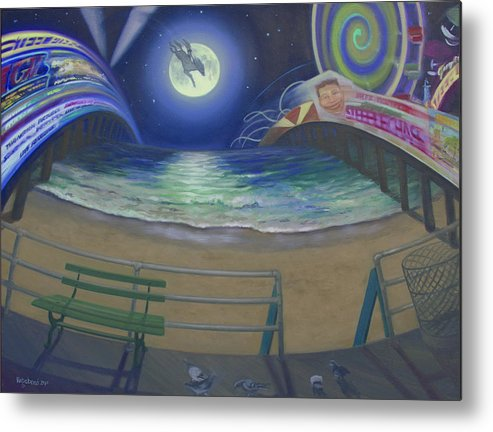 Full Moon Metal Print featuring the painting Atlantic City Time Warp by Suzn Smith