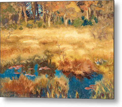 Swedish Art Metal Print featuring the painting Autumn Landscape With Fox 7 by Bruno Liljefors