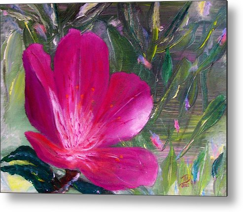 Flower Metal Print featuring the painting Azalea by Tony Rodriguez