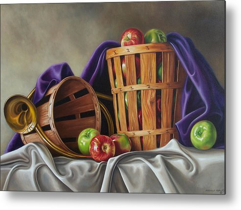 Still Life Metal Print featuring the painting Basket And Horn by Arnold Hurley