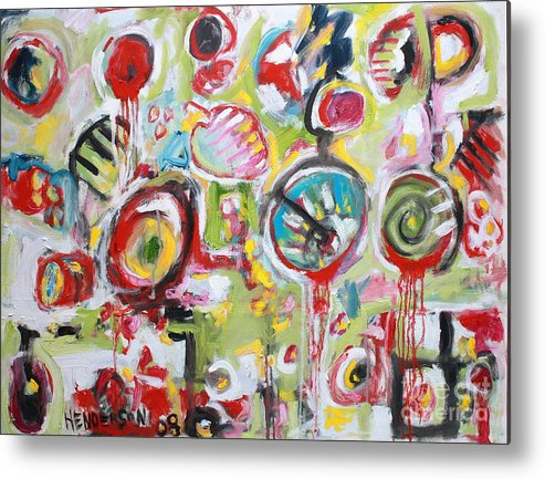Abstract Painting Metal Print featuring the painting Basket Of Fruit by Michael Henderson